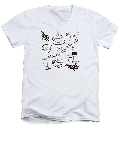 Coffee/cafe Pattern Background Men's V-Neck T-Shirt