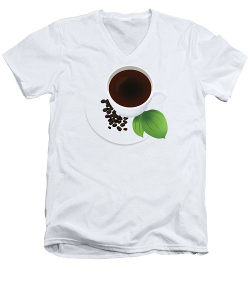 Coffee Cup On Saucer With Beans Men's V-Neck T-Shirt