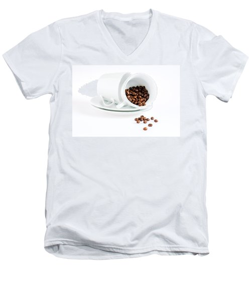 Men's V-Neck T-Shirt featuring the photograph Coffee Cups And Coffee Beans  by Ulrich Schade