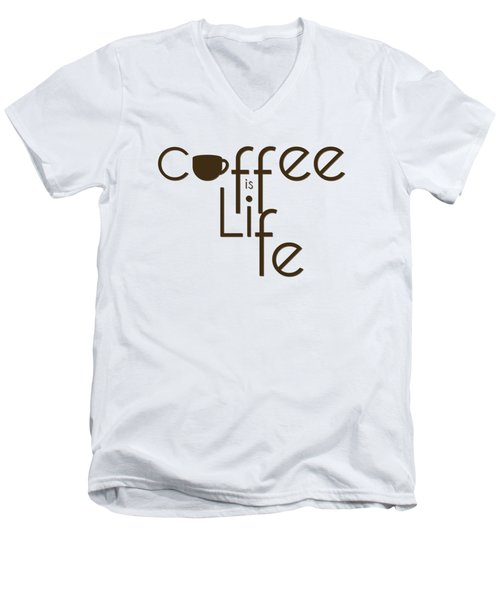 Men's V-Neck T-Shirt featuring the digital art Coffee Is Life #3 by Nola Lee Kelsey