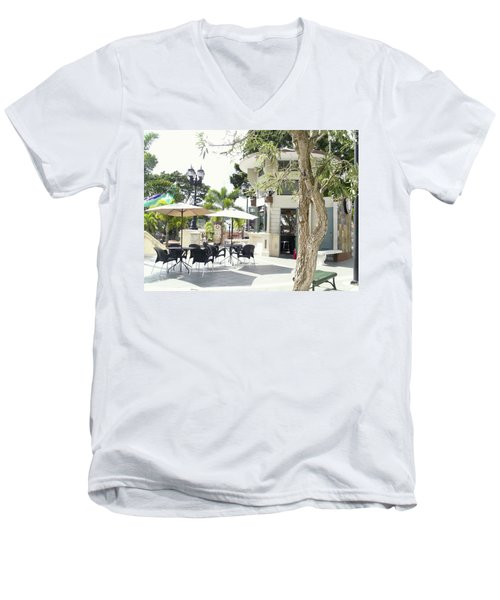 Coffee Lover's Expresso Bar At The Moll Boscana Town Square Men's V-Neck T-Shirt