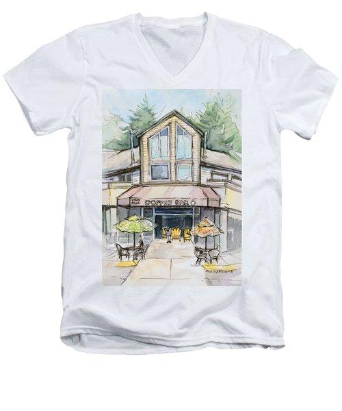 Coffee Shop Watercolor Sketch Men's V-Neck T-Shirt by Olga Shvartsur
