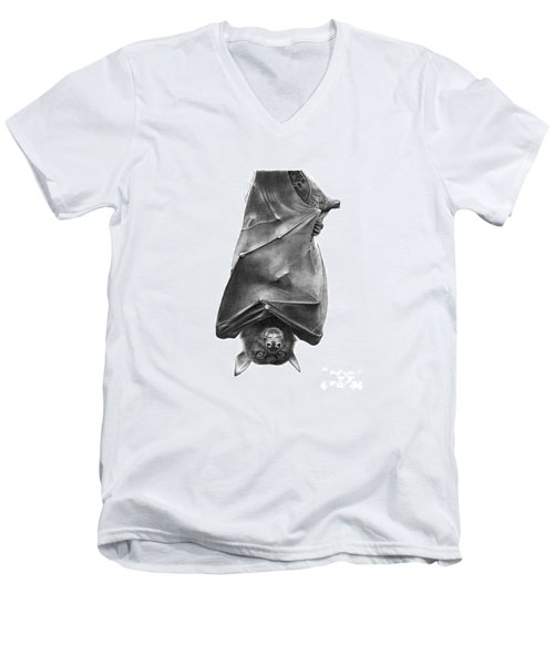 Men's V-Neck T-Shirt featuring the drawing Coffie The Fruit Bat by Abbey Noelle