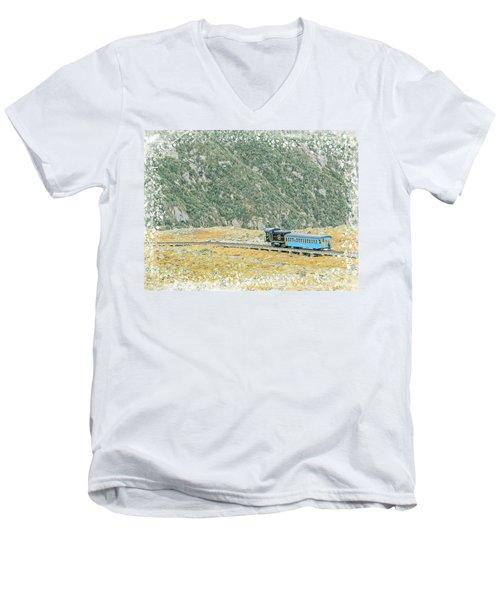 Cog Railroad Train. Men's V-Neck T-Shirt
