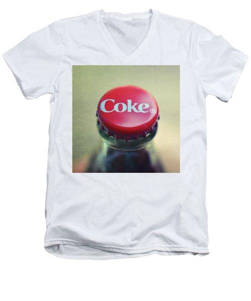 Coke Bottle Cap Square Men's V-Neck T-Shirt by Terry DeLuco