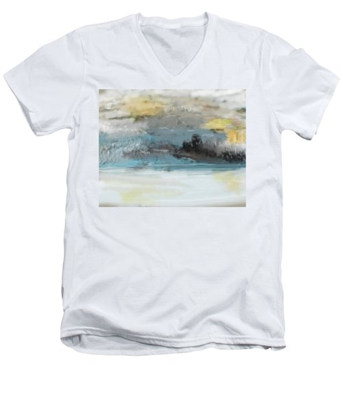 Cold Day Lakeside Abstract Landscape Men's V-Neck T-Shirt