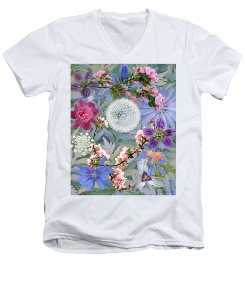Men's V-Neck T-Shirt featuring the digital art Collage One by John Selmer Sr