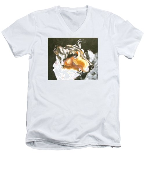 Collie Merle Smooth 2 Men's V-Neck T-Shirt