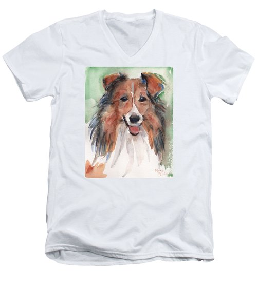 Collie, Shetland Sheepdog Men's V-Neck T-Shirt by Maria's Watercolor