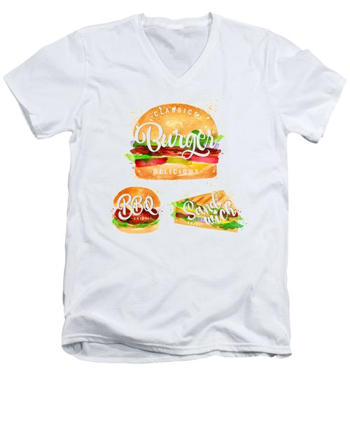 Color Burger Men's V-Neck T-Shirt by Aloke Creative Store