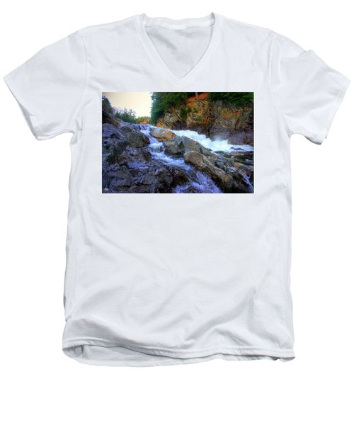 Color Steps At Livermore Falls Men's V-Neck T-Shirt