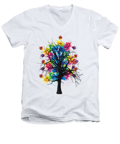 Color Tree Collection Men's V-Neck T-Shirt by Marvin Blaine