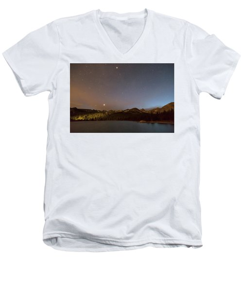 Men's V-Neck T-Shirt featuring the photograph Colorado Indian Peaks Stellar Night by James BO Insogna