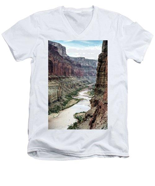 Colorado River And The East Rim Grand Canyon National Park Men's V-Neck T-Shirt
