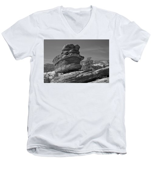 Men's V-Neck T-Shirt featuring the photograph Colorado Springs Balanced Rock Black And White by Adam Jewell
