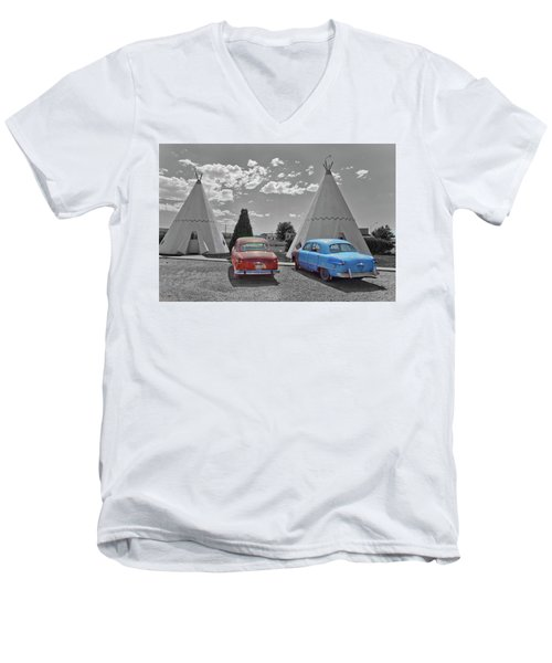 Colored Cars And Tee Pee Motel--holbrook Men's V-Neck T-Shirt