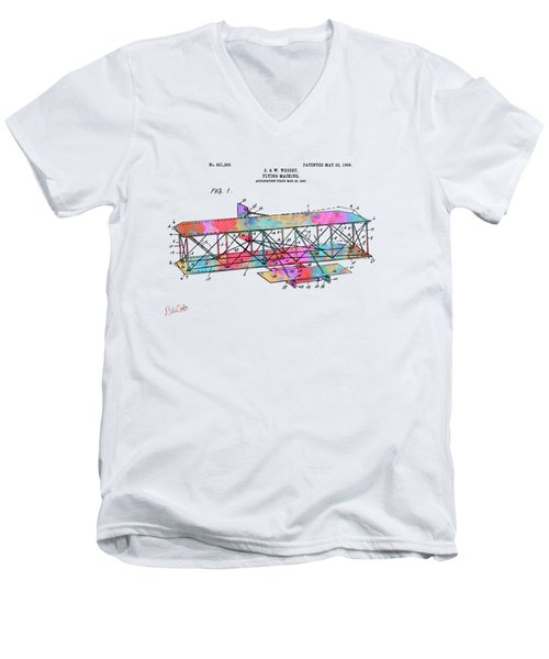Colorful 1906 Wright Brothers Flying Machine Patent Men's V-Neck T-Shirt