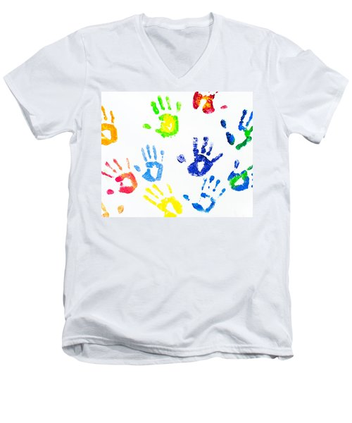 Men's V-Neck T-Shirt featuring the photograph Colorful Arm Prints Abstract by Jenny Rainbow