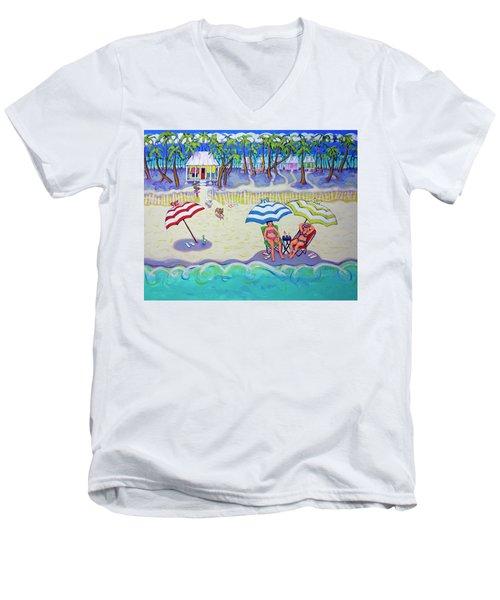 Colorful Beach Hideaway Men's V-Neck T-Shirt