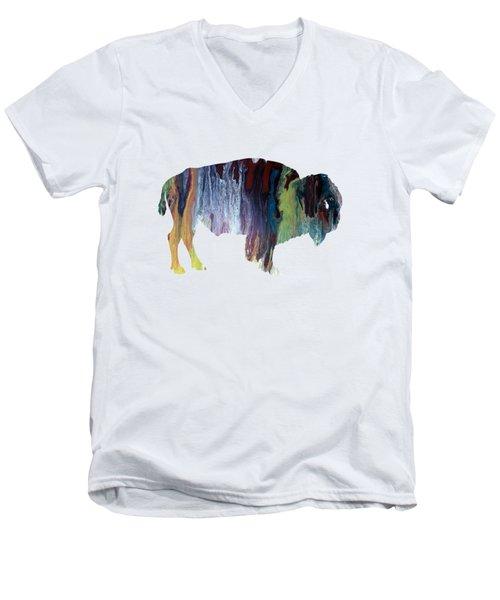 Colorful Bison Men's V-Neck T-Shirt by Mordax Furittus