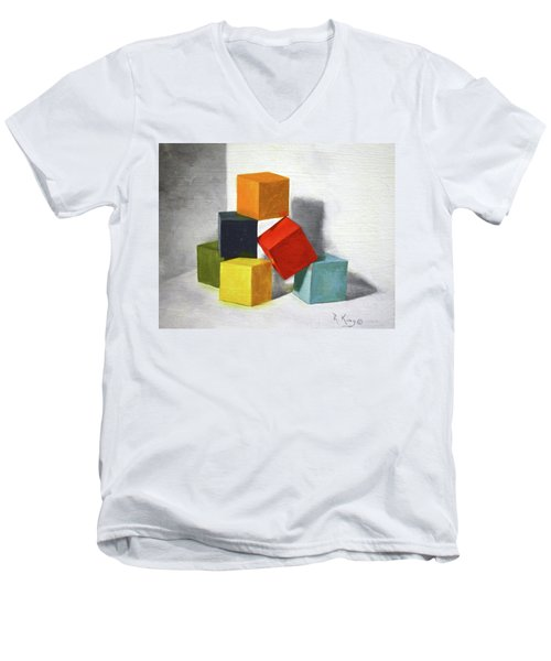 Colorful Blocks Men's V-Neck T-Shirt