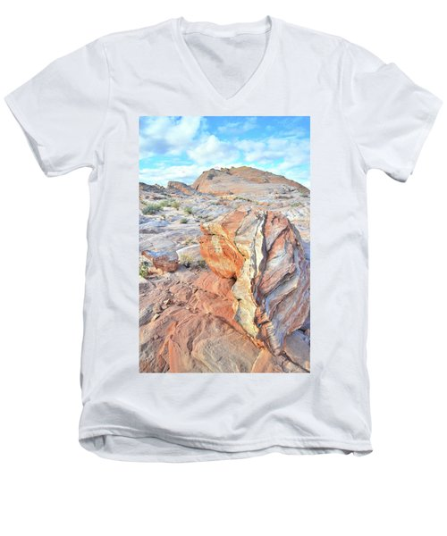 Colorful Boulder At Valley Of Fire Men's V-Neck T-Shirt by Ray Mathis