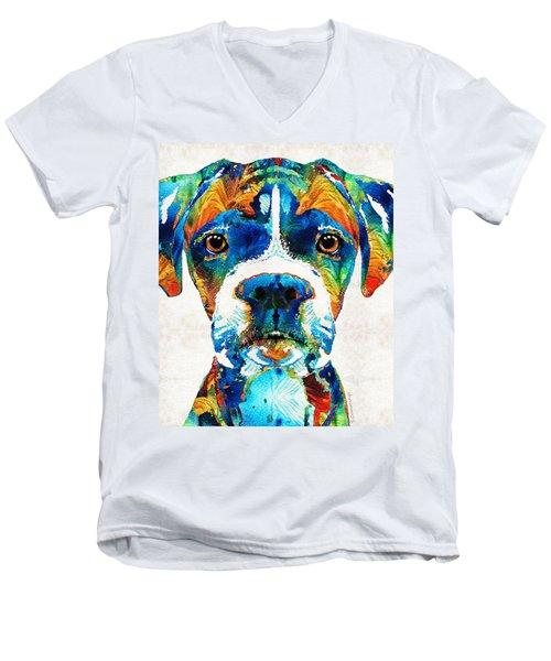 Colorful Boxer Dog Art By Sharon Cummings  Men's V-Neck T-Shirt