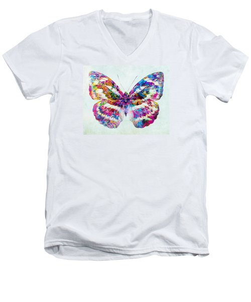 Colorful Butterfly Art Men's V-Neck T-Shirt by Olga Hamilton