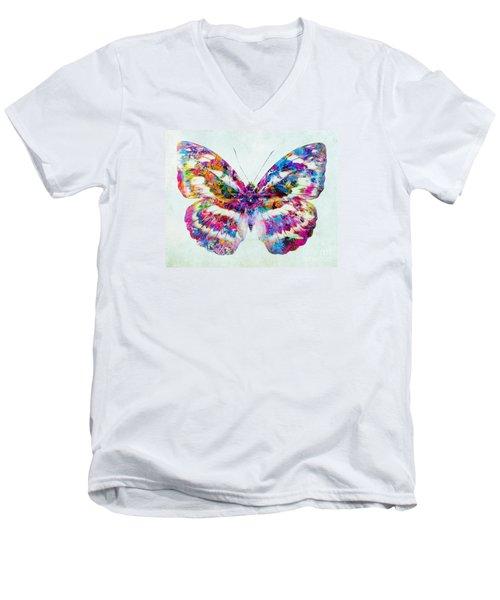 Colorful Butterfly Art Men's V-Neck T-Shirt