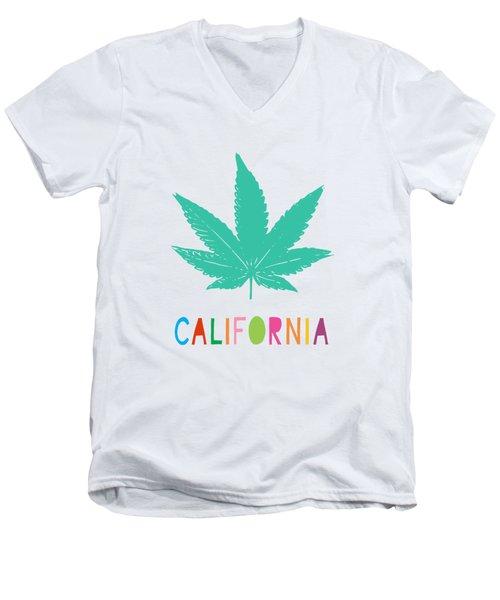 Colorful California Cannabis- Art By Linda Woods Men's V-Neck T-Shirt