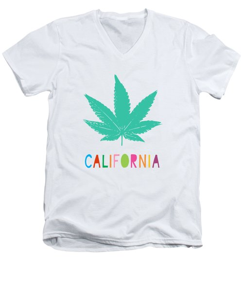 Colorful California Cannabis- Art By Linda Woods Men's V-Neck T-Shirt