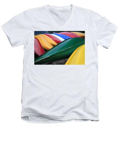 Colorful Canoes Men's V-Neck T-Shirt by Catherine Alfidi