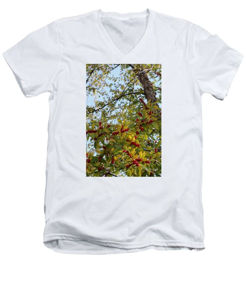 Men's V-Neck T-Shirt featuring the photograph Colorful Contrasts by Deborah  Crew-Johnson