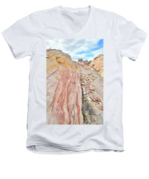 Colorful Crest In Valley Of Fire Men's V-Neck T-Shirt by Ray Mathis