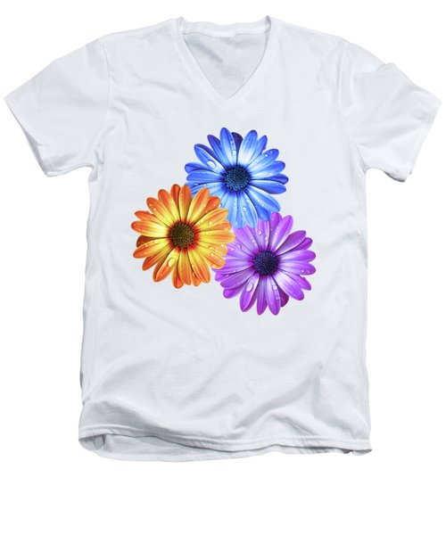 Colorful Daisies With Water Drops On White Men's V-Neck T-Shirt