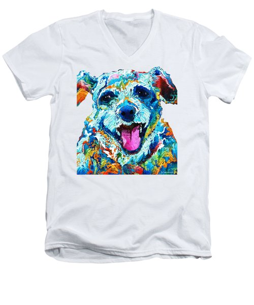 Colorful Dog Art - Smile - By Sharon Cummings Men's V-Neck T-Shirt by Sharon Cummings