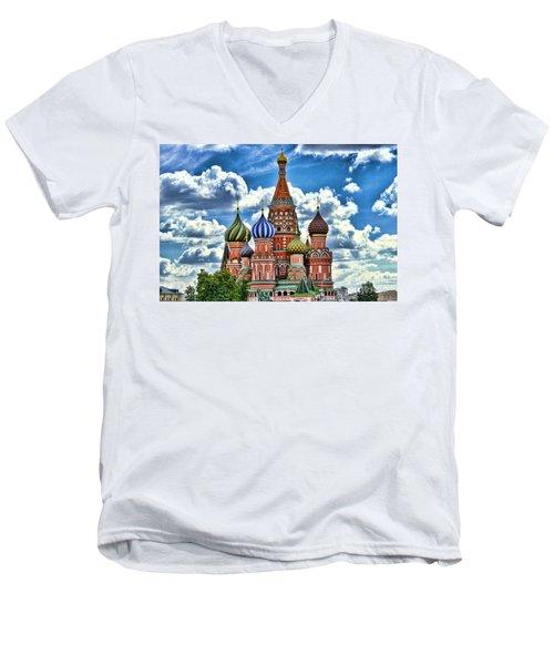 Colorful Domes Men's V-Neck T-Shirt by Pravine Chester