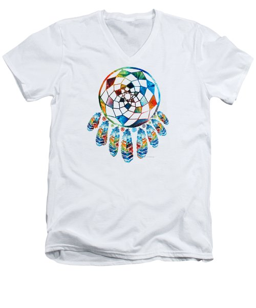 Men's V-Neck T-Shirt featuring the painting Colorful Dream Catcher By Sharon Cummings by Sharon Cummings