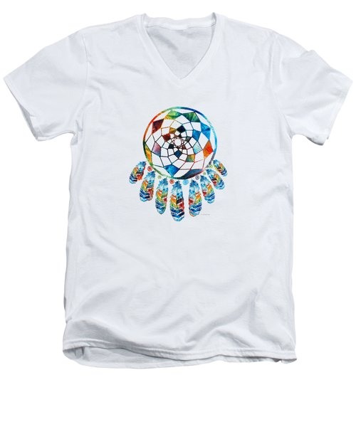 Colorful Dream Catcher By Sharon Cummings Men's V-Neck T-Shirt