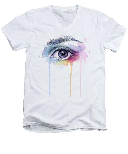 Colorful Dripping Eye Men's V-Neck T-Shirt