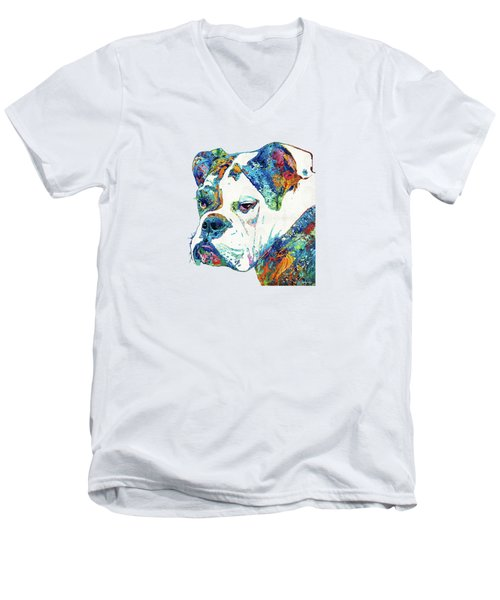 Men's V-Neck T-Shirt featuring the painting Colorful English Bulldog Art By Sharon Cummings by Sharon Cummings