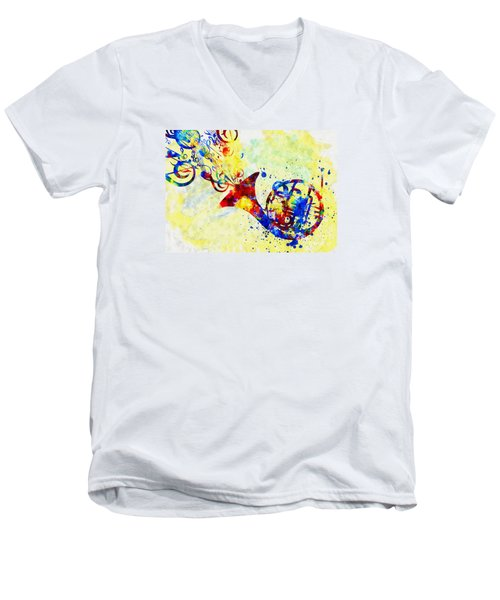 Colorful French Horn Men's V-Neck T-Shirt by Olga Hamilton