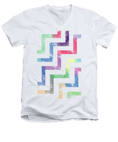 Colorful Geometric Patterns Vi Men's V-Neck T-Shirt by Amir Faysal