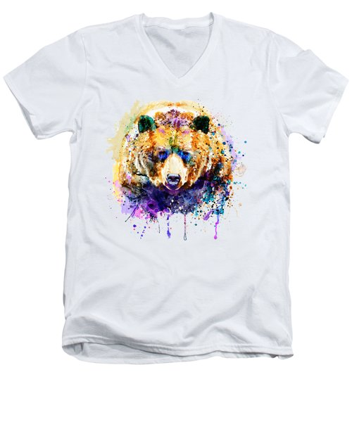 Colorful Grizzly Bear Men's V-Neck T-Shirt