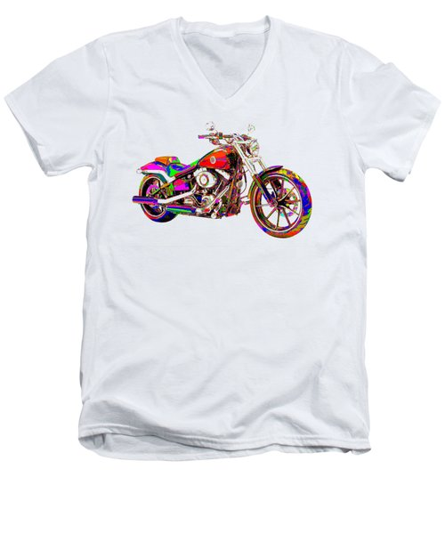 Colorful Harley-davidson Breakout Men's V-Neck T-Shirt