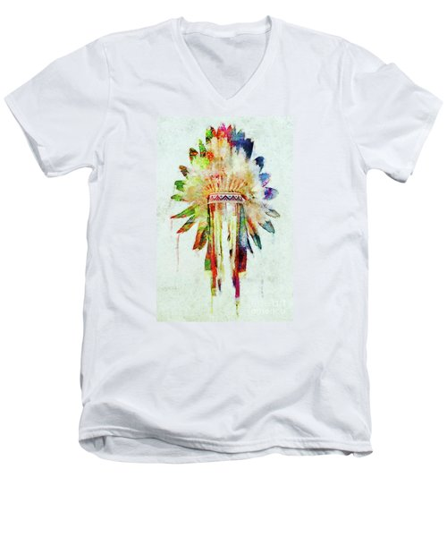 Colorful Lakota Sioux Headdress Men's V-Neck T-Shirt by Olga Hamilton