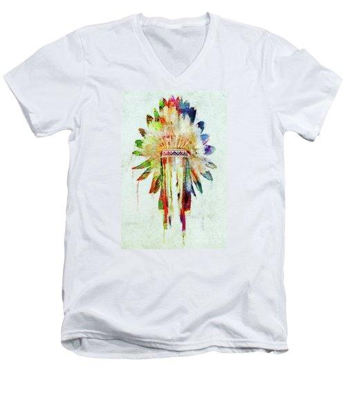 Colorful Lakota Sioux Headdress Men's V-Neck T-Shirt