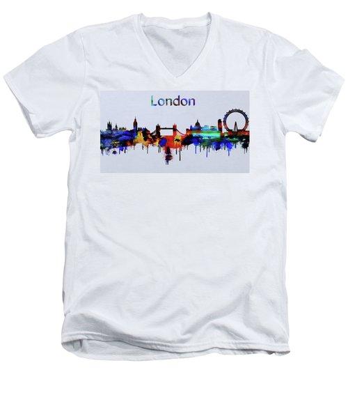 Colorful London Skyline Silhouette Men's V-Neck T-Shirt