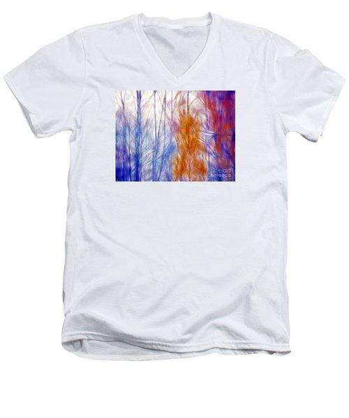 Colorful Misty Forest  Men's V-Neck T-Shirt by Odon Czintos