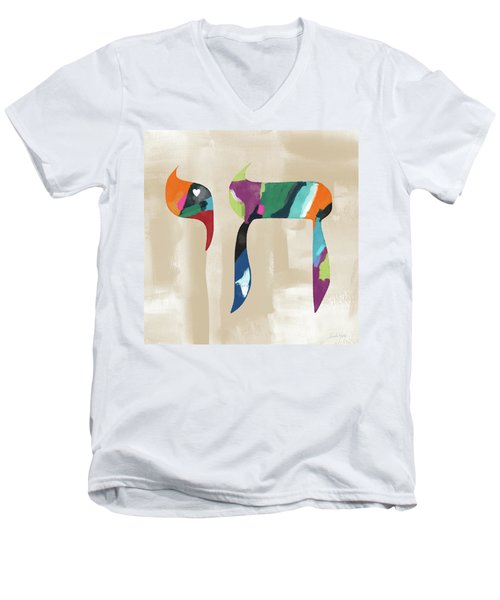 Colorful Painting Chai- Art By Linda Woods Men's V-Neck T-Shirt by Linda Woods
